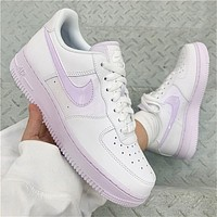 "Nike Wmns Air Force 1 ""White/Barely Grape"" ⁠ Low-top all-match casual sports shoes"