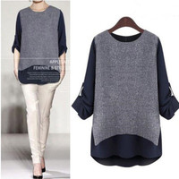 Autumn Women Mixed Color Loose Long Sleeve Round Necked Shirt Blouse a13110