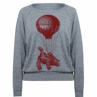 Flying Turtle Hot Air Balloon Light Wieght Tri-Blend Raglan Pullover - American Apparel - S M L (Color Options)