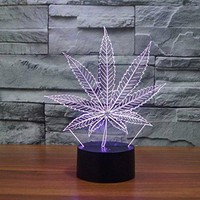 REDOI 3D Table Lamp 7 Color Night Bedroom Home Wedding Valentine's Day Gift Romantic Atmosphere (Cannabis Leaf)