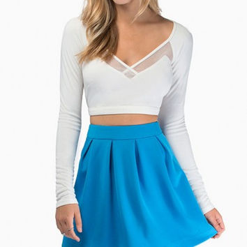 White V-Neckline Long Sleeve Crop Top with Sheer Mesh Cut-Outs