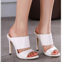 Leather Women Fashion Sandals High Heels Shoes