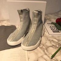 Dior Fashion Women Casual Breathable Sneakers Sport Shoes high top boots top quality grey