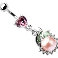 Body Accentz™ Belly Button Ring Navel Heart Pearl Body Jewelry Dangle 14 Gauge HO254