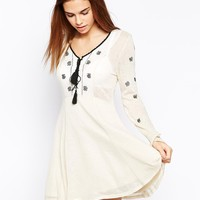 Glamorous Folk Style Fine Knit Skater Dress with Embroidery at asos.com
