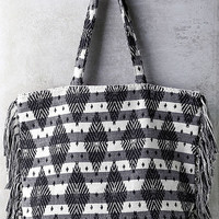Amuse Society Runaway Black and White Striped Tote