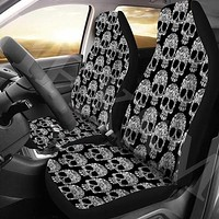 Skull Print Front Auto Car Seat Cover Protector