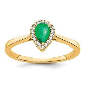 14k Yellow Gold Pear Genuine Emerald And Diamond Halo Ring