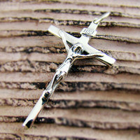 Mens Womens Sterling Silver 925 Cross Pendant Jesus Crucifix for Chain Necklace P313S