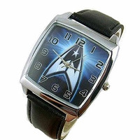 Star Trek Logo (Blue) a Mens or Womens Silver Square Watch with Leather Band