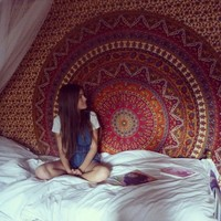Brown Psychedelic Star Mandala Hippie Wall Hanging Dorm Decor Bedspread