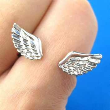 Angel Wings Adjustable Ring with Feather Detail in Silver