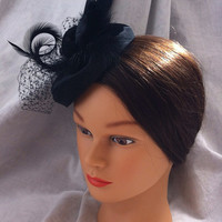 Black Feather Fascinator/Mini Hat/Hair Clip with Bird Cage Veiling