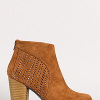 Qupid Sake-10 Perforated Round Toe Ankle Bootie
