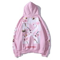 Off White New fashion arrow letter floral print couple hooded long sleeve sweater Pink