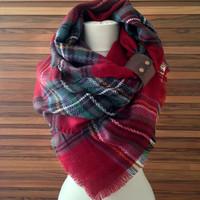 Oversized Plaid Scarf  Plaid Blanket Scarves Scarf Christmas Tartan Plaid Scarfs or Scarves, Plaid Scarf Blanket Gift for Her, Gift Idea