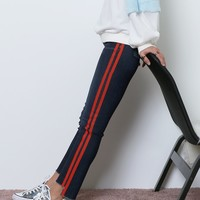 Merci Skinny Jeans With Painted Stripes - Blue/Red