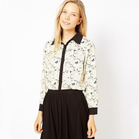 Printed Contrast Color Long Sleeve Shirt Collar Blouse