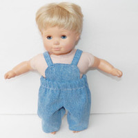 Handmade Clothes made to fit 15 inch bitty baby blue jean denim overalls boy