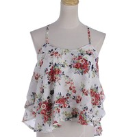 Anna-Kaci S/M Fit Multicoloured All Over Floral Print Layers Cross Straps Top