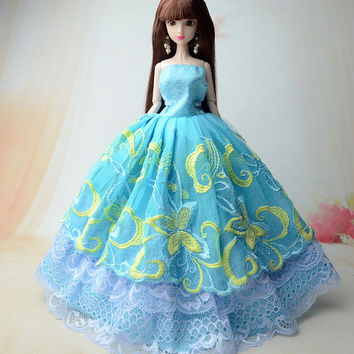 NK One Pcs 2016 Princess Wedding Dress Noble Party Gown For Barbie Doll Fashion Design Outfit Best Gift For Girl' Doll 005A