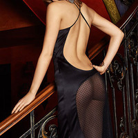 Black Dotted Mesh Cut-out Cross Strap Backless Sleep Gown