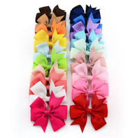 20PCS Girl Baby Bow Hair Clip Grosgrain Ribbon Boutique Bowknot Hairpin Child Hair Accessories 2017 New