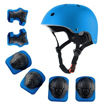 Anharluka Kids Sport Protective Gear Set, Helmet and Pads for Bike Skateboard Skate Scooter Blue Small