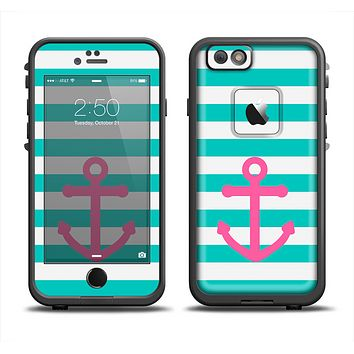The Teal Striped Pink Anchor Apple iPhone 6 LifeProof Fre Case Skin Set