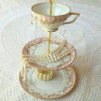 Alice Tips Her Hat, Pale Pink Vintage China 3 Tiered Jewelry Stand Plate Display or Mini Tea Tray for Cupcakes & Candy - FREE US SHIPPING