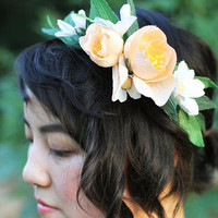 Peach and Ivory Bridal Head piece or Hair piece, Paper Crepe Flower Wreath