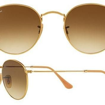 Ray Ban Aviator RB3447 Round Sunglasses 112/51 Gold With Brown Gradient Lens