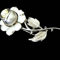 Large Rose Brooch with Pearl Signed Trifari Rhodium Plated
