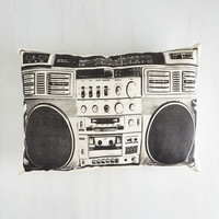 80s Boombox! Shake the Room Pillow by ModCloth