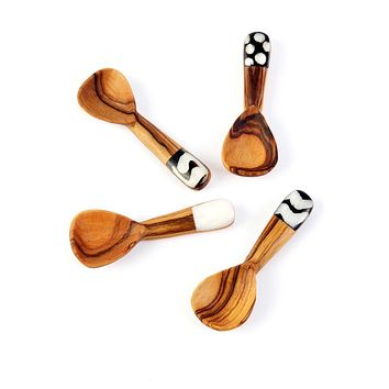 Olive Wood and Bone Round Spice Spoon Wooden Spoon
