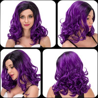 Charming Medium Wavy Side Parting Black Mixed Purple Cosplay Lolita Synthetic Wig For Women