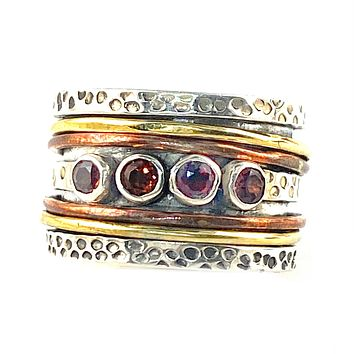 Spinner Ring - Three Tone Garnet