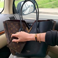 LV Louis Vuitton hot sale classic color matching V-shaped handbag shoulder bag shopping bag