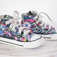 Baby HighTop or LowTop Splatter Painted Converse or Vans Sneakers Infant Size 0-3, Custom Made
