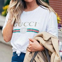 LV Louis Vuitton GG classic printed letter round neck short-sleeved T-shirt