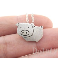Animal Themed Piglet Piggy Pig Shaped Pendant Necklace in Silver | DOTOLY