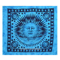 Blue Tie Dye Sun and Moon Tapestry Wall Hanging Bedding Bedspread on RoyalFurnish.com