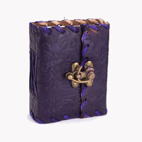 3x4 Purple Leather Journal with Latch