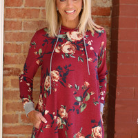 Just For Fun Floral Print Tunic With Pockets ~ Wine ~ Sizes 4-10