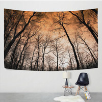 Sunset Sky Tree Branches Forest Tapestry Wall Hanging Tree of Life Nature Landscape Wall Decor Art for Living Room Bedroom Dorm