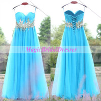 Blue Prom Dress 2015 Sweetheart Strapless Long Dress Shining Beading Sequins Floor-length A-line Flowing Tulle Women Dress Lace up Back