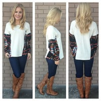 Aztec Print On Sides Sweater Top