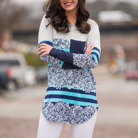 Tell Me A Story Tunic, Grey-Navy