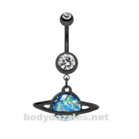 Black Saturn Planet Opal Belly Button Ring Stainless Steel Body Jewelry