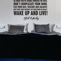 Bob Marley Wake Up and Live Decal Quote Sticker Wall Vinyl Art Decor